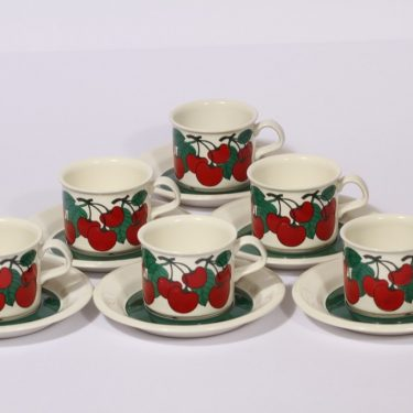 Arabia Kirsikka kahvikupit, 6 kpl, suunnittelija , serikuva, retro