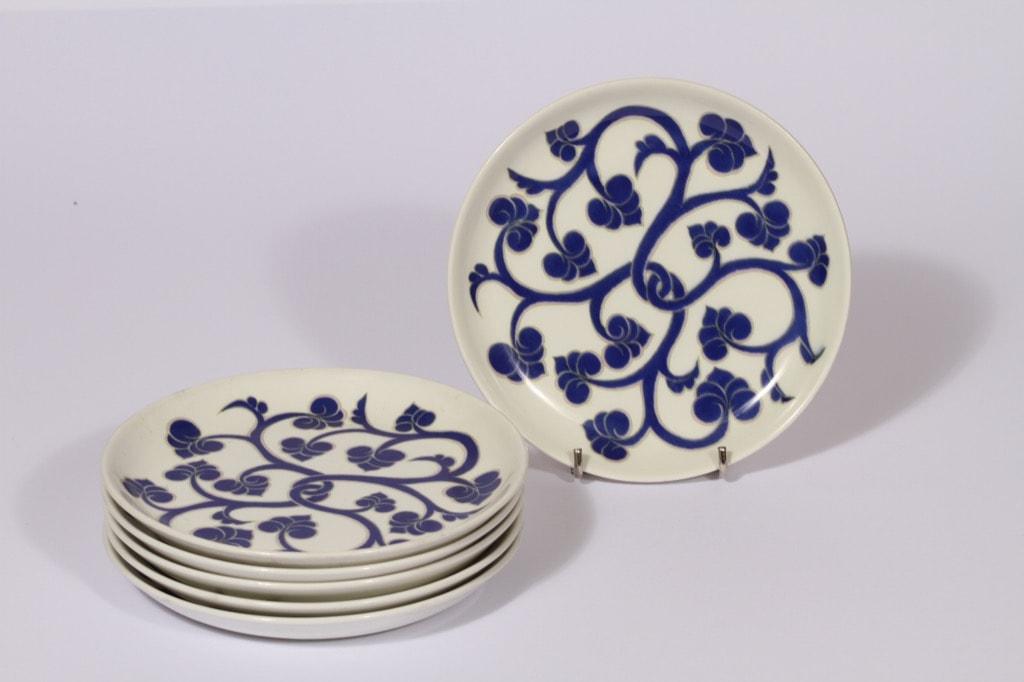 Arabia Lyydia lautaset, sininen, 6 kpl, suunnittelija , pieni, serikuva, retro
