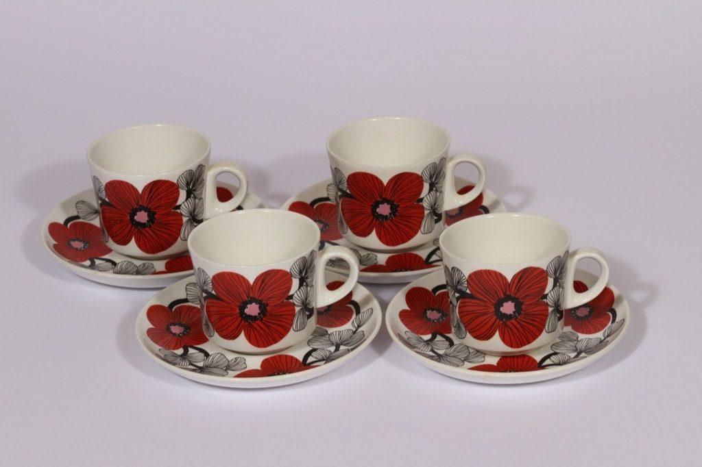 Arabia Isokukka kahvikupit, punainen, 4 kpl, suunnittelija Esteri Tomula, serikuva, kukka-aihe