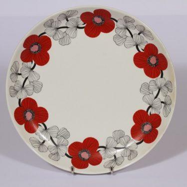 Arabia Isokukka vati, punainen, suunnittelija Esteri Tomula, serikuva, kukka-aihe, retro
