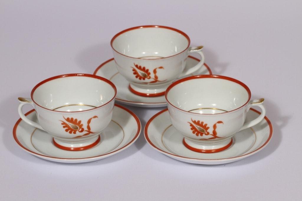 Arabia Ilo kahvikupit, punainen, 3 kpl, suunnittelija , käsinmaalattu, art deco
