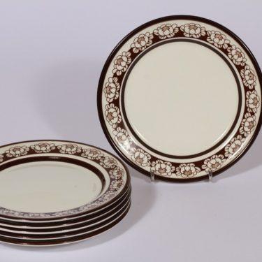Arabia Katrrilli leivoslautaset, ruskea, 6 kpl, suunnittelija , serikuva