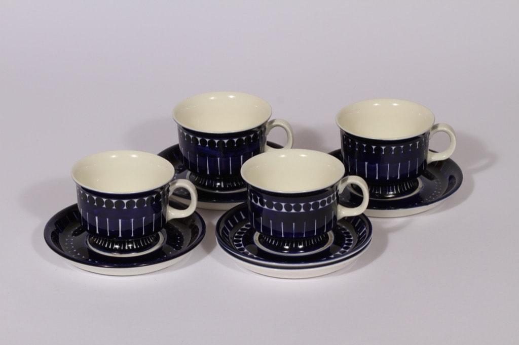 Arabia Valencia kahvikupit, 4 kpl, suunnittelija Ulla Procope, käsinmaalattu, signeerattu
