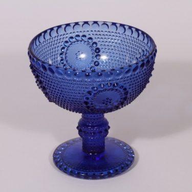 Riihimäen lasi Grapponia kulho, sininen, suunnittelija Nanny Still, jalallinen