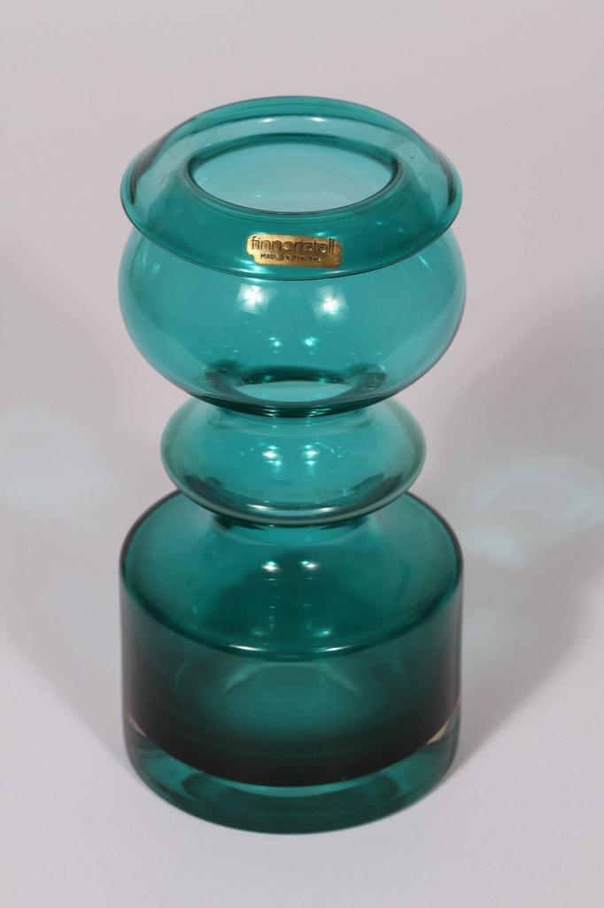 Riihimäen lasi Pompadour maljakko, turkoosi