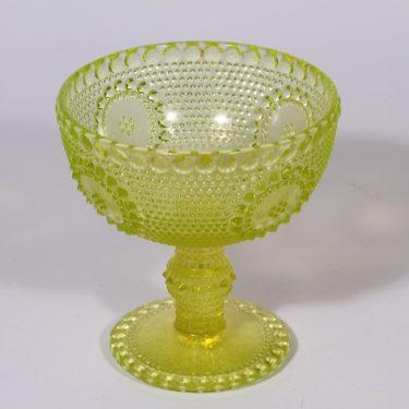 Riihimäen lasi Grapponia kulho, keltainen, suunnittelija Nanny Still, jalallinen