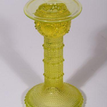 Riihimäen lasi Grapponia kynttilänjalka, suunnittelija Nanny Still, keltainen
