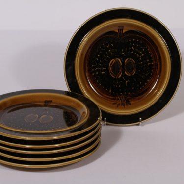 Arabia Fructus lautaset, ruskea, 6 kpl, suunnittelija Gunvor Olin-Grönqvist, pieni, käsinmaalattu