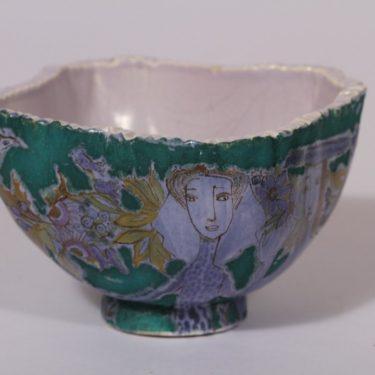 Arabia koristekulho, uniikki, suunnittelija Hilkka-Liisa Ahola, uniikki, käsinmuotoiltu, käsinmaalattu, signeerattu