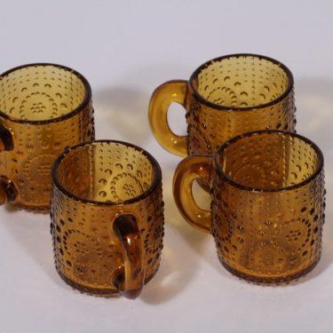 Riihimäen lasi Grapponia punssimukit, ruskea, 4 kpl, suunnittelija Nanny Still,