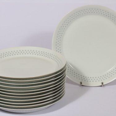 Arabia Helmi lautaset, matala, 12 kpl, suunnittelija Friedl Holzer-Kjellberg, matala, riisiposliini, massasigneerattu