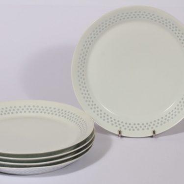 Arabia Helmi lautaset, valkoinen, 5 kpl, suunnittelija Friedl Holzer-Kjellberg, matala, riisiposliini, massasigneerattu