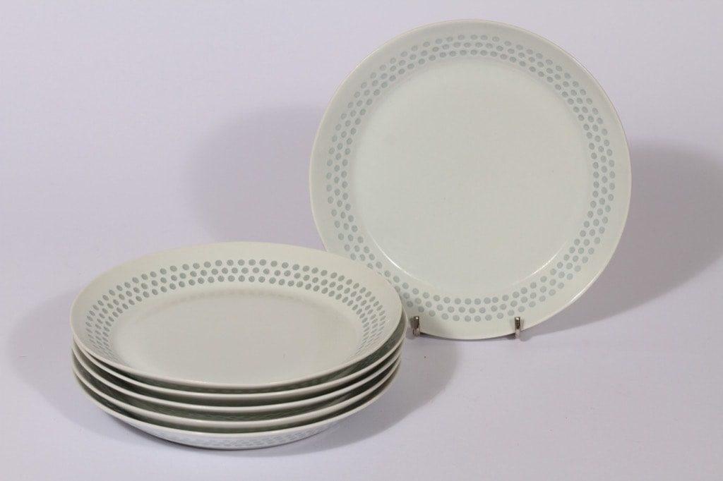 Arabia Helmi lautaset, valkoinen, 6 kpl, suunnittelija Friedl Holzer-Kjellberg, pieni, riisiposliini, massasigneerattu