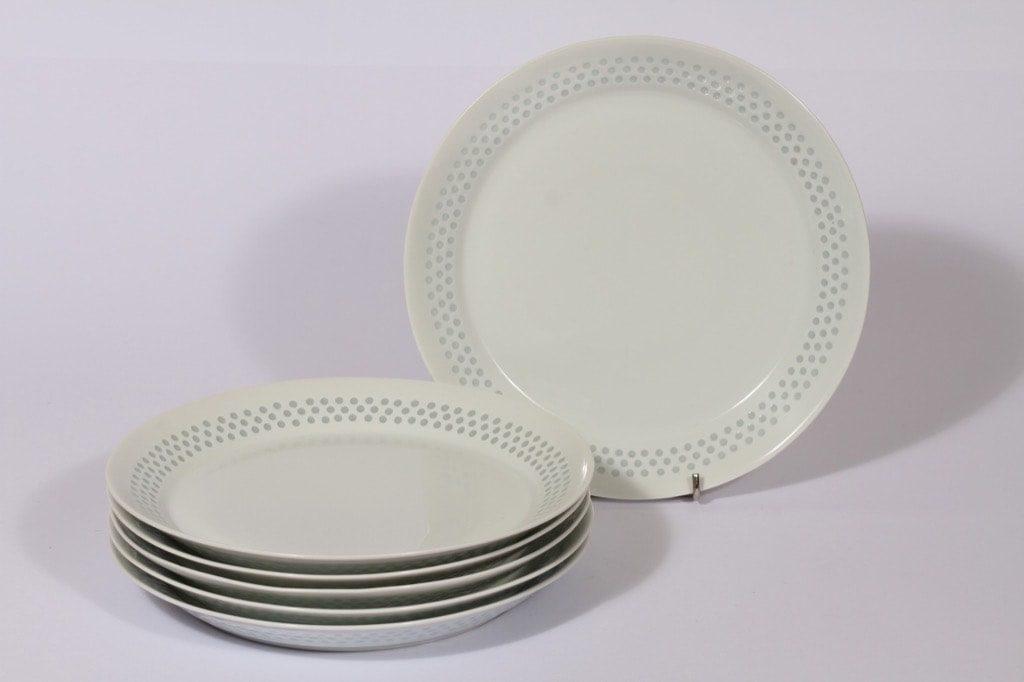 Arabia Helmi lautaset, valkoinen, 6 kpl, suunnittelija Friedl Holzer-Kjellberg, matala, riisiposliini, massasigneerattu