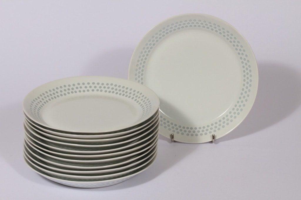Arabia Helmi lautaset, pieni, 12 kpl, suunnittelija Friedl Holzer-Kjellberg, pieni, riisiposliini, massasigneerattu