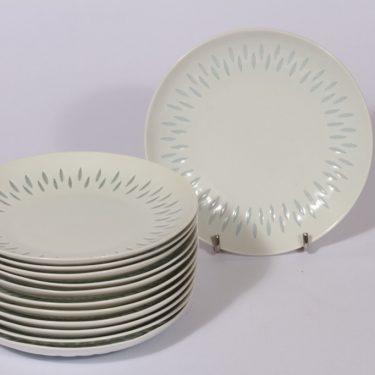 Arabia FK lautaset, pieni, 12 kpl, suunnittelija Friedl Holzer-Kjellberg, pieni, riisiposliini, massasigneerattu