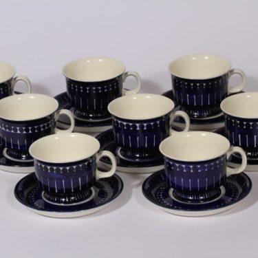Arabia Valencia kahvikupit, 8 kpl, suunnittelija Ulla Procope, käsinmaalattu, signeerattu