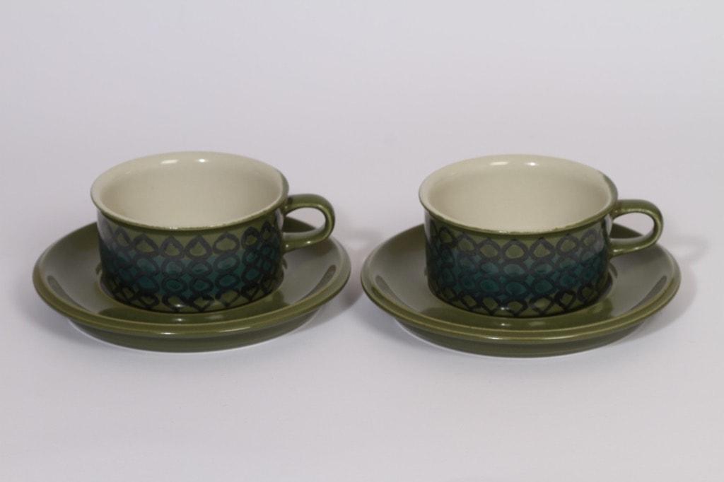 Arabia S 3 teekupit, 2 kpl, suunnittelija Hilkka-Liisa Ahola, 27 cl, käsinmaalattu, signeerattu
