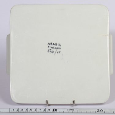 Arabia AJ61 tarjotin, suunnittelija Svea Granlund, käsinmaalattu, sininen, signeerattu kuva 2