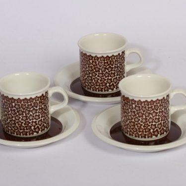 Arabia Faenza kukka kahvikupit, ruskea, 3 kpl, suunnittelija , serikuva