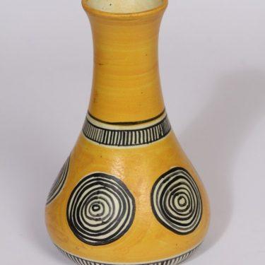 Kupittaan savi 4 maljakko, keltainen, suunnittelija Laila Zink, käsinmaalattu, retro, signeerattu