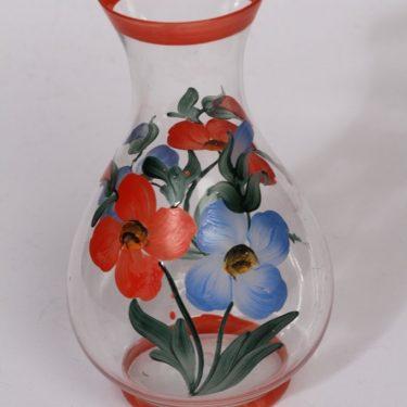 Kumela maljakko, punainen, suunnittelija , käsinmaalattu, kukka-aihe