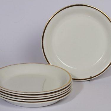 Arabia Sasto lautaset, 6 kpl, suunnittelija , pieni, kullattu