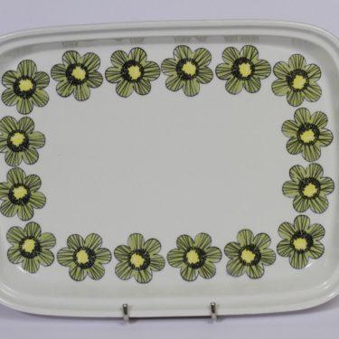 Arabia Primavera vati, vihreä, suunnittelija Esteri Tomula, serikuva, kukka-aihe, retro
