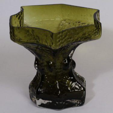 Riihimäen lasi Fantasma maljakko, suunnittelija Nanny Still, suuri, vihreä
