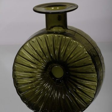 Riihimäen lasi Aurinkopullo decoration bottle, designer Helena Tynell, olive green, size 3/4, 2