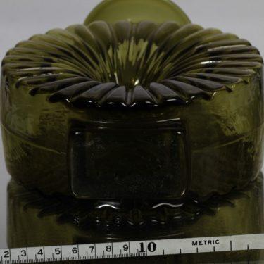 Riihimäen lasi Aurinkopullo decoration bottle, designer Helena Tynell, olive green, size 3/4, 3