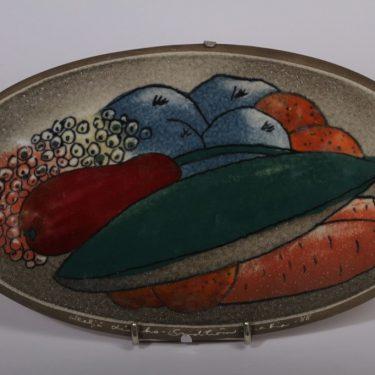 Arabia wall plate, fruit plate, designer Heljä Liukko-Sundström, silk screening, signed