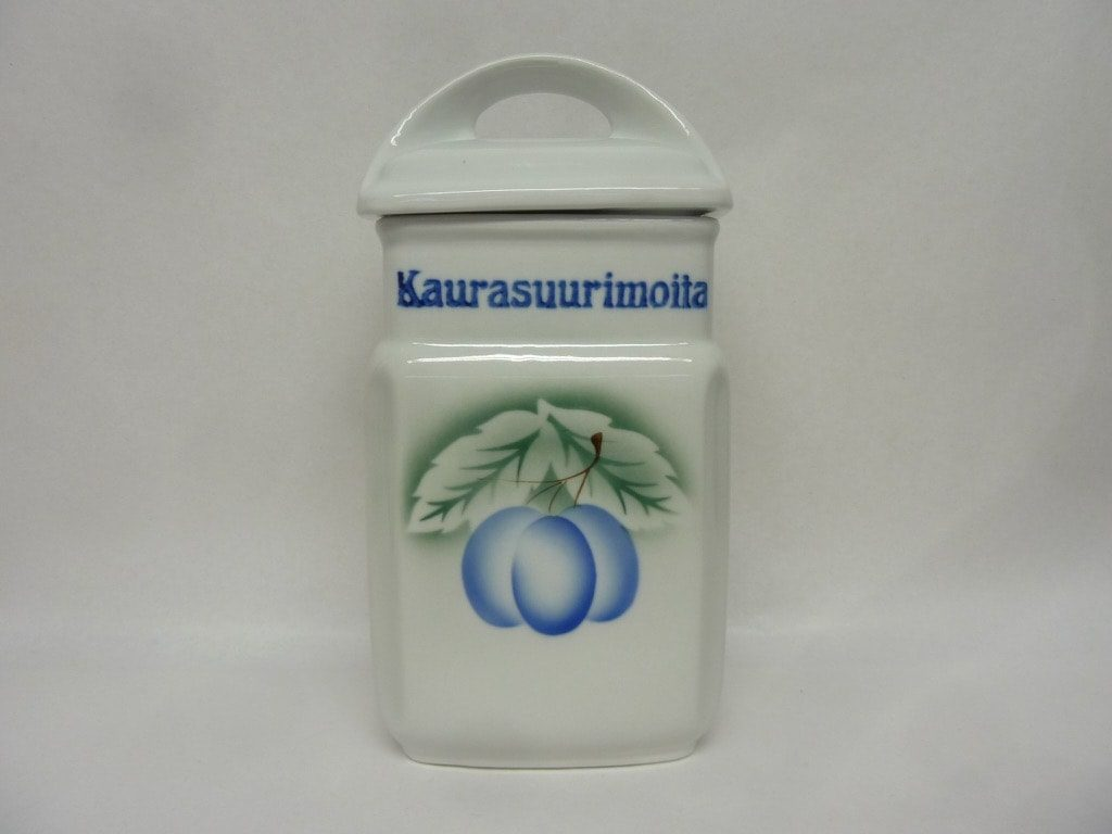 Arabia Luumu oat jar, designer Thure Öberg, silk screening