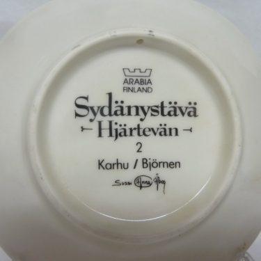 Arabia Sydänystävä koristelautanen, Karhu, suunnittelija Sussi Anna Åberg, Karhu, pieni, serikuva kuva 2
