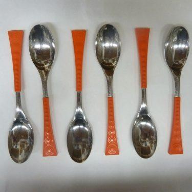 Hackman Colorina ruokalusikat, oranssi, 6 kpl, suunnittelija Nanny Still,