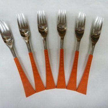 Hackman Colorina haarukat, oranssi, 6 kpl, suunnittelija Nanny Still,