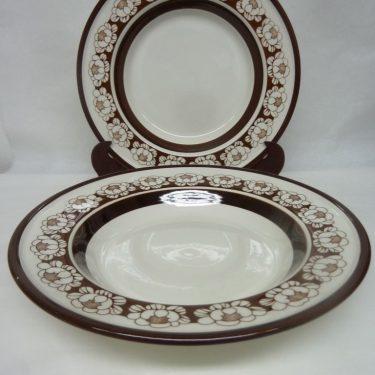 Arabia Katrilli lautaset, syvä, 2 kpl, suunnittelija Ulla Procope, syvä, serikuva