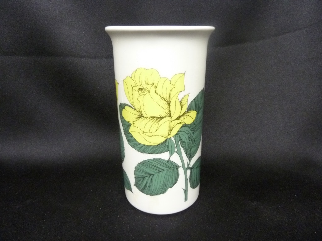 Arabia Botanica maljakko, Rosa Ever Gold, suunnittelija Esteri Tomula, Rosa Ever Gold, serikuva, kukka-aihe