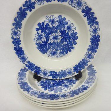 Arabia Sinikukka lautaset, syvä, 5 kpl, suunnittelija , syvä, serikuva, lehti-aihe