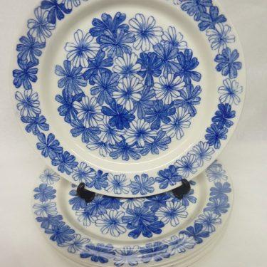 Arabia Sinikukka lautaset, matala, 6 kpl, suunnittelija , matala, serikuva, lehti-aihe