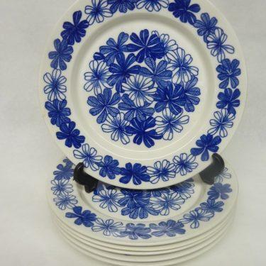 Arabia Sinikukka lautaset, pieni, 6 kpl, suunnittelija , pieni, serikuva, lehti-aihe
