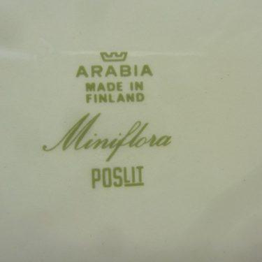 Arabia Miniflora lautaset, matala, suunnittelija Esteri Tomula, matala, serikuva, kukka-aihe kuva 2