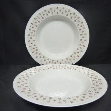 Arabia Miniflora lautaset, syvä, 2 kpl, suunnittelija Esteri Tomula, syvä, serikuva, kukka-aihe