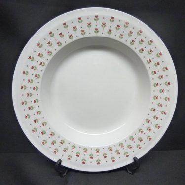 Arabia Miniflora lautaset, syvä, suunnittelija Esteri Tomula, syvä, serikuva, kukka-aihe