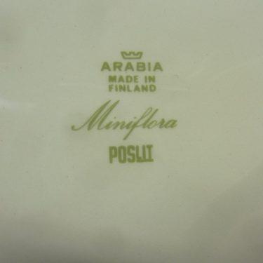Arabia Miniflora lautaset, syvä, suunnittelija Esteri Tomula, syvä, serikuva, kukka-aihe kuva 2