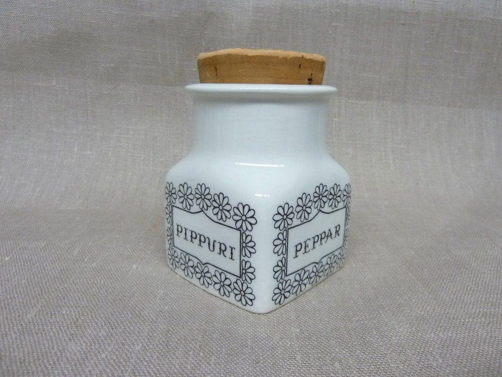 Arabia spice jar, pepper, designer Esteri Tomula, silk screening