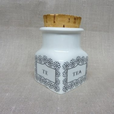 Arabia spice jar, tea, designer Esteri Tomula, silk screening