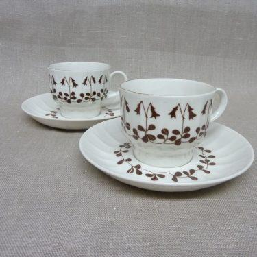 Arabia Vanamo kahvikupit, ruskea, 2 kpl, suunnittelija Esteri Tomula, serikuva, ornamentti