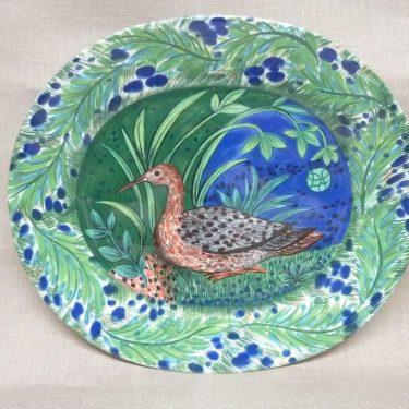 Arabia Pro Arte Hubertus vati, suunnittelija Dorrit von Fieant, suuri, soikea, lintuaihe
