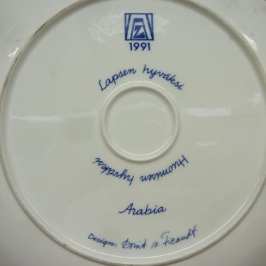 Arabia decorative plate, Lapsen Hyväksi, designer Dorrit von Fieandt, big, silk screening, signed